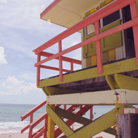 Beach Photography, Lifeguard Station, South Beach, Architecture, Miami Florida, Fine Art Print Photograph, Bright Blue, Orange, Colorful