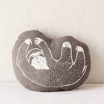 Plum & Bow Woodblock Sloth Pillow