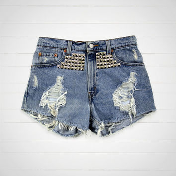 Studded Shorts / Levis High Waisted Denim Shorts Cut Offs / 30 Waist / Hipster Urban Outfitters Style