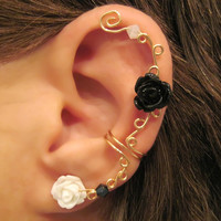 "Ear Cuff Non-Pierced ""Climbing Roses"" Cartilage Conch Cuff Gold tone and Acrylic Roses One Cuff Wedding, Prom"