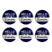 Simon Hello My Name Is Plastic Resin Button Set of 6
