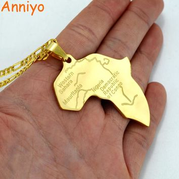 Anniyo Gold Color Map of Africa Pendant Necklaces for Women/Men African Maps Jewelry Ethiopian Gifts #003608