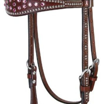 Weaver Leather Pretty in Pink Browband Headstall, Rich Brown