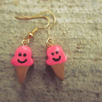 Ice Cream Cone Earrings Polymer Clay Pink and by AutumnAndAmber