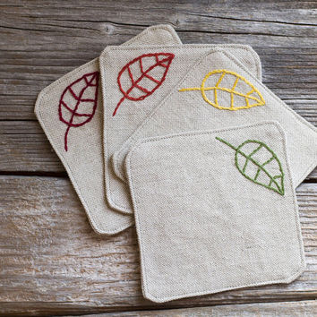 Autumn Leaves Coasters, a set of 4, Hand embroidered, Natural Linen and Cotton, Nature Inspired Fall Home Decor