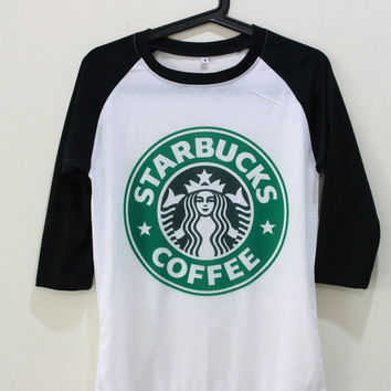 Starbucks Shirt Coffee TShirt Unisex T-Shirt Shirts Baseball Raglan Jersey Tee Long Sleeve Women Men Size S M L