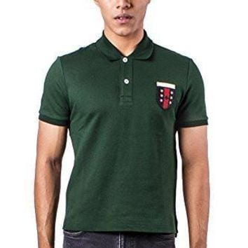 Authentic Gucci Men's Logo Embroidered Green Polo Shirt