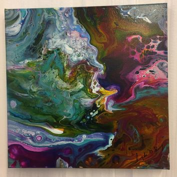 Poppin Purple and Blue Bliss Abstract Art Painting on Canvas