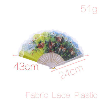 Red Floral Pattern Wedding Party Spanish Style Hand Fan Decorative Design