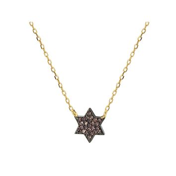Midnight Black Star of David Necklace in Gold