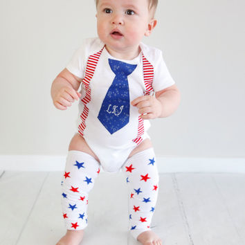 1 Pc Baby Boys Personalized 4th of July Tie with Suspender Bodysuit-Boys Tie Bodysuit-Red White Blue Birthday Set-Cake Smash Outfit