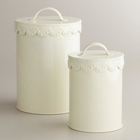 Ivory Vintage Scalloped Top Canisters | World Market