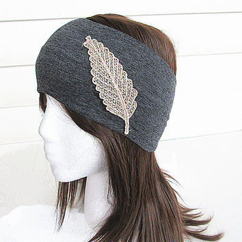 Lace Headband-Grey Wide Headband - Stretchy Jersey Hair Band- Head wrap-Yoga Headband