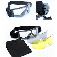 3 Lens ( Black + Clear + Yellow ) Airsoft Paintball Shooting Safety Protective Goggles Glasses