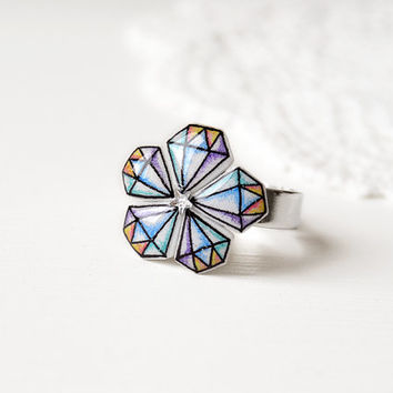 Diamond flower ring in shrink plastic and resin, adjustable - one of a kind OOAK