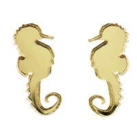 Seahorse Earrings in Mirror Gold