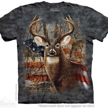 (ALL-NEW-BUCK-IN-THE-BRUSH & PATRIOT-FLAG-BACK-DROP,GRAPHIC-PREMIUM-PRINTED-TEES,COMES-IN-ALL-SIZES:)