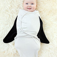 100% Organic Cotton Simple Swaddles (Penguin), 3-6M