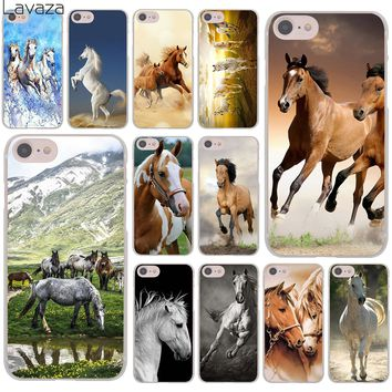 Lavaza Watercolor horse Running Horses Hard Cover Case for Apple iPhone 8 7 6 6S Plus 5 5S SE 5C 4 4S X 10 Coque Shell