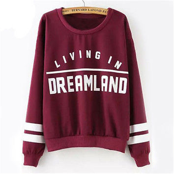 2016 Women's Casual Long Sleeve Hoodie Sweatshirt Jumper Pullover  Letter Print Shirt Coat DreamLand Nirvana