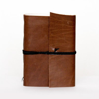 Recycled leather book mini journal cahier chapbook diary notebook blank pages eco paper christmas - brown cinnamon camel carmel cocoa