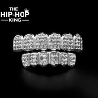 ac PEAPO2Q White Gold ICED OUT CZ Diamonds Teeth Top Silver Tone 3 Three Rows GRILL Set JOKER Tooth Bling Grillz