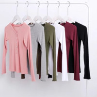 FREE SHIPPING Early autumn new style slim - fitting deep - V collar front fastening long sleeve T - shirt at the bottom of the shirt