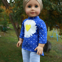 Floral graphic print high low shirt, blue and white stripe leggings, 18 inch doll clothes,  American Girl, Maplelea
