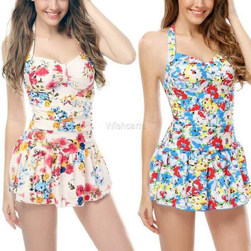 Women Sexy One Piece Swimwear V Neck Halter Backless Padded Stretch Floral Print Ruffle Hem Beach Wear Swim Dress = 1958215172