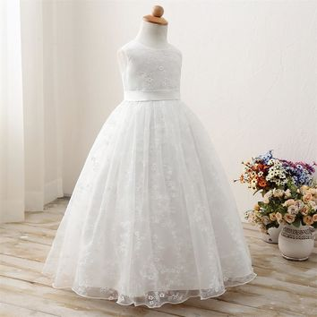 Summer Girl Party Dress Children&'s Clothing 9 Years White Prom Gown Rustic Flower Girl Wedding Dres