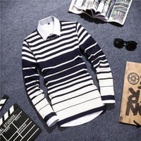 Men's Casual Fashion Striped Pullover