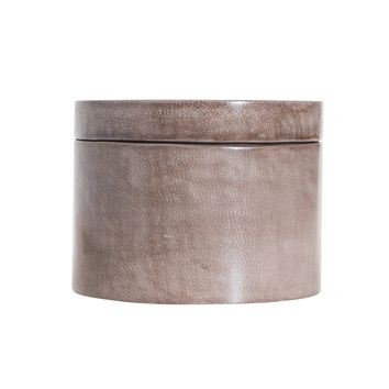Grey Leather Jewelry Canister