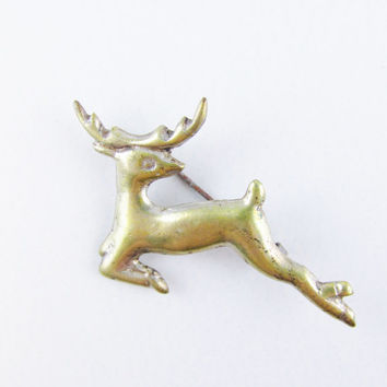 Vintage Brooch: Gold Washed Silver Deer