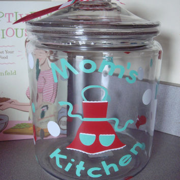 Glass Cookie Jar, Red Apron , Kitchen Canister, Kitschy Kitchen Decor,Retro kitchen Decor, Treat Jar