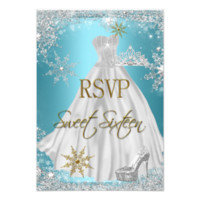 RSVP Sweet 16 Sweet Sixteen Teal White Gold Elite 3.5x5 Paper Invitation Card