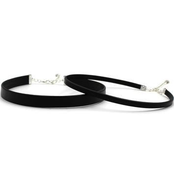 Black Leather Chokers Gift Set