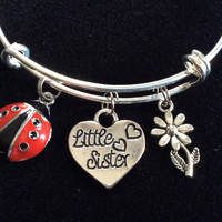 Lady Bug Little Sister Charm Bracelet Adjustable Expandable Silver Wire Bangle Meaningful Gift Kid's Bangle Available