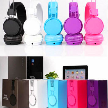 2016 Cute Candy Color Foldable Headband Headphones Headset Stereo Noise isolating for Girl MP3 MP4 Xiaomi Samsung iPhone Gift