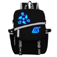 Men Women Anime Naruto Sharingan Luminous Satchel Backpack School Bags