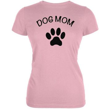 LMFCY8 Mother's Day - Dog Mom Pink Juniors Soft T-Shirt