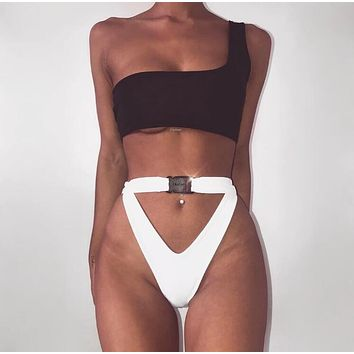 Fashion Women Single Shoulder Strap High Waist Two Piece Bikini Swimsuit Bathing I11916-1