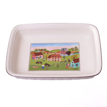 Vintage 80s Villeroy and Boch Design Naif Baking Dish  1980s Laplau Spring Morn Small Lasagna Pan Fluted Casserole 9x6