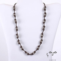 VujuWear Metal Beads and Brown Leather Necklace  - Men's Leather Necklace
