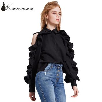 Zipper Open Sleeve Women's Blouses Pleated Ruffle Trim Cut Out Office Lady Shirts 2018 New Arrival OL Shirt Black Top M18011013