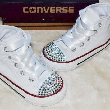 customised crystal white high top all star converse blinged crystal toes ribbon laces