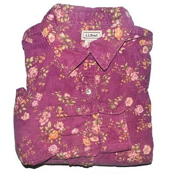 4d1e772e Vintage Floral Corduroy Shirt Flower Button Up Blouse Womens Shi
