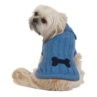 Fashion Pet Bone Patch XX-Large Cable Dog Sweater, Blue