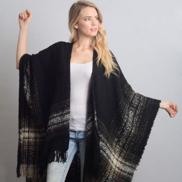 Black Mohair Fringe Trim Plaid/Poncho