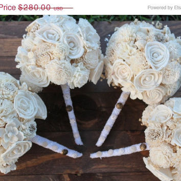 ON SALE THROUGH 5/5 4 Medium Bridesmaid Bouquets, Lace with Button Accents