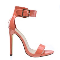 Canter Salmon By Delicious, Salmon Pink Delicious Women Single Sole Ankle Strap High Heels